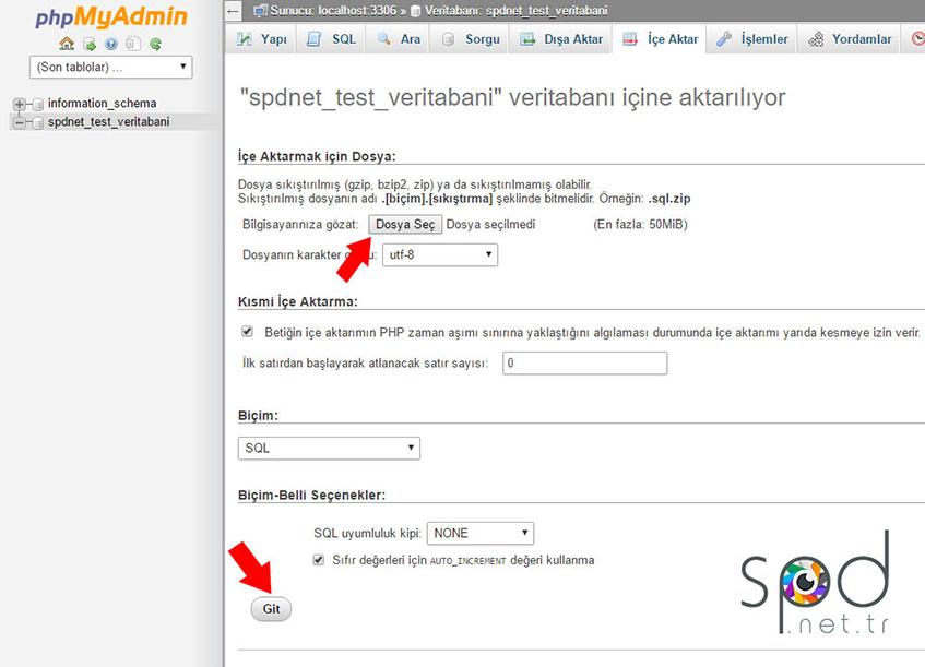 Veritabanına SQL dosyasını yükleyelim.